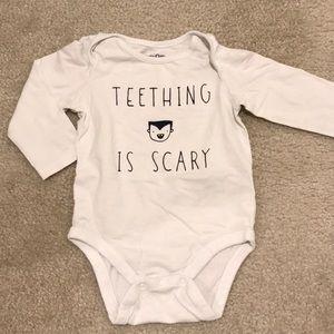 Teething is scary bodysuit